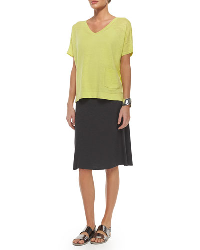 Short-Sleeve Organic Linen Boxy Top & Twist Flared Skirt