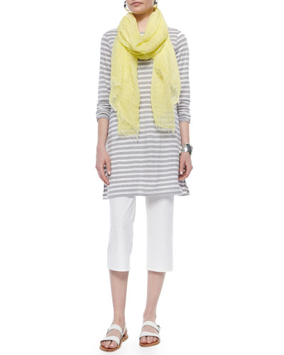 Striped Linen Tunic, Maltinto Modal Stripe Scarf & Slim Crepe Capri Pants