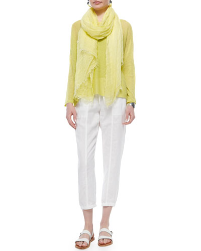 Long-Sleeve Mesh Box Top, Organic Cotton Slim Tank, Maltinto Modal Stripe Scarf & Organic Linen Cropped Pants