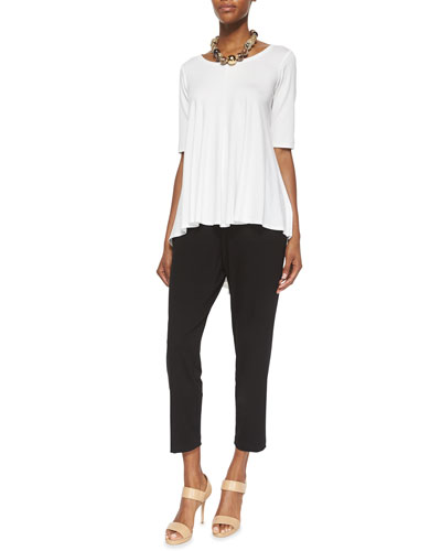 Lightweight Half-Sleeve Box Top & Slim Slouchy Ankle Pants