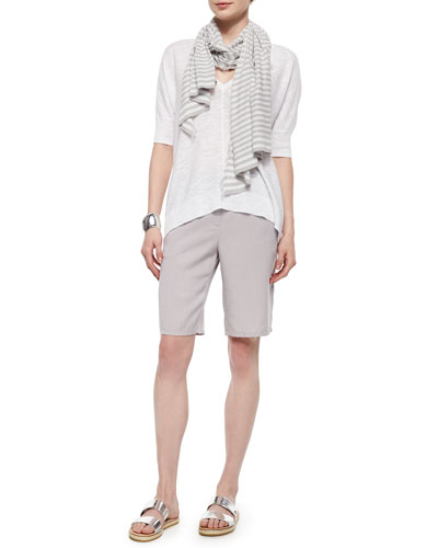 Slub Links Box Top, Diagonal Striped Scarf & Long Twill Shorts