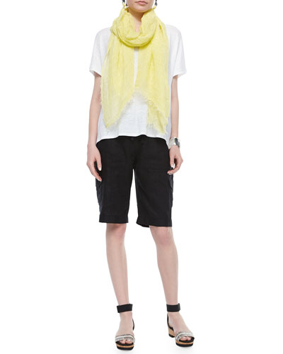 Short-Sleeve Scoop-Neck Box Top, Maltinto Modal Stripe Scarf & Drawstring Cargo Linen Shorts