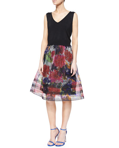 V-Neck Crop Top & Midi Floral-Print Organza Skirt