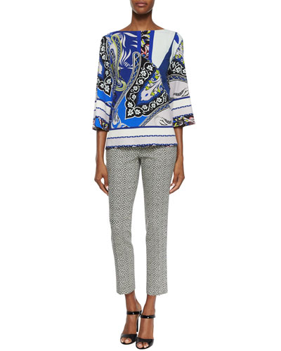 Paisley-Print Wide-Sleeve Top & Pebble-Print Slim Capri Pants