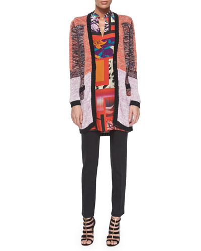 Long-Sleeve Split-Neck Tunic Top, Colorblock Knit Cardigan & Stretch-Wool Skinny-Fit Pants
