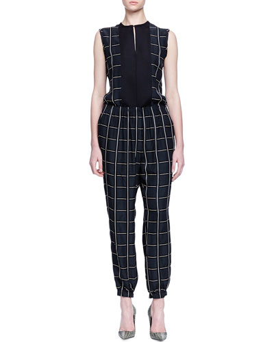 Checked Slit-Front Blouse & Checked Smocked Jogger Pants