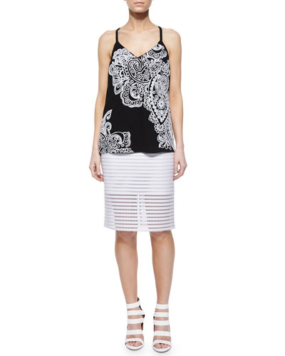 On the Edge Paisley Tank & Easy Breezy Mesh Striped Pencil Skirt