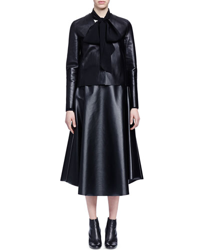 Collarless Lightweight Leather Jacket, Bow-Detailed Crepe Blouse & Full Leather Midi Skirt