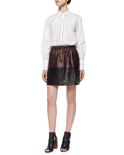 Ladder-Stitch Poplin Blouse & Two-Tone Leather Skirt
