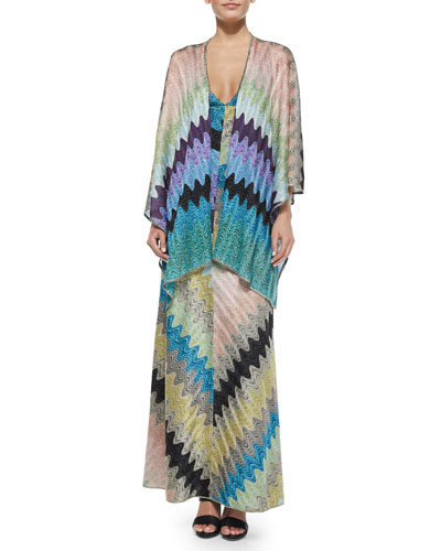Long Shimmer Evening Wrap & Deep V-Neck Bias Zigzag Gown