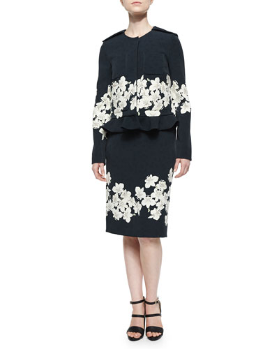 Anica Floral-Patch Boxy Jacket & Aysha Pencil Skirt