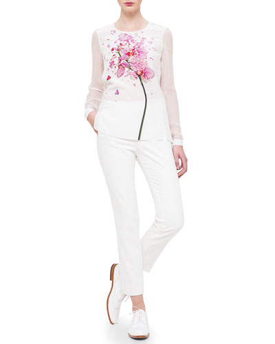 Chiffon-Sleeve Orchid-Print Blouse & Conny Side-Zip Ankle Pants