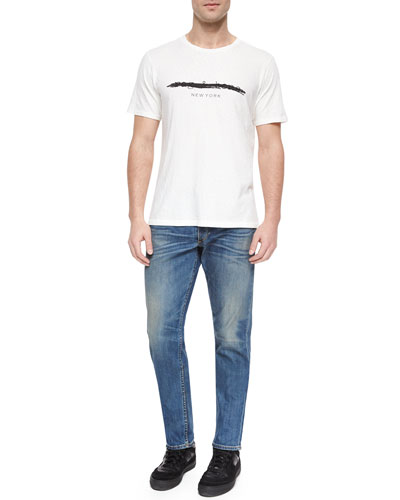 Short-Sleeve Knit Logo Tee & Five-Pocket Distressed Slim-Leg Jeans