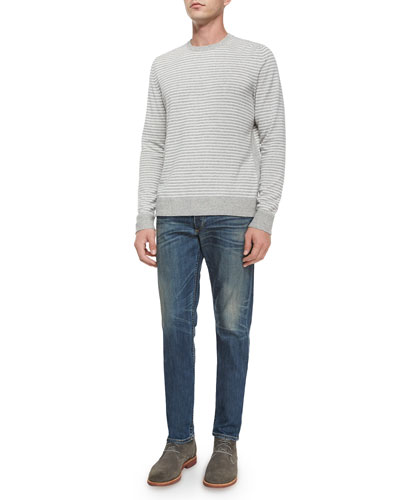 Striped Long-Sleeve Sweater & Five-Pocket Distressed Slim-Leg Jeans