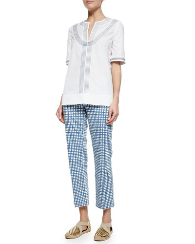Embroidered Poplin Tunic & Cropped Plaid Pants