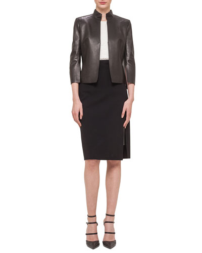 Abstract Applique Back Leather Jacket, Sleeveless Rose Jacquard Top & Leather-Inset Side-Slit Pencil Skirt