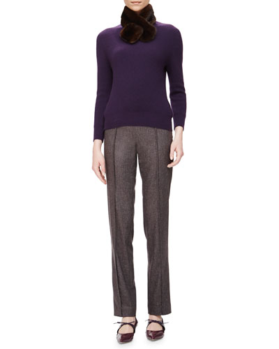 Ribbed Cashmere Sweater w/ Removable Fur Collar & Skinny Melange Wool Pants