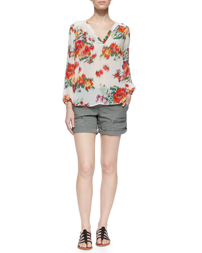 Axcel Floral Ikat-Printed Silk Blouse & Keli Cotton Poplin Shorts