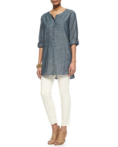 Chambray Long Tunic & Slim Stretch Ankle Jeans, Women
