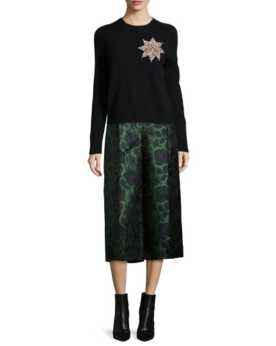Brooch-Embellished Knit Sweater & Floral Jacquard Cropped Flare Pants