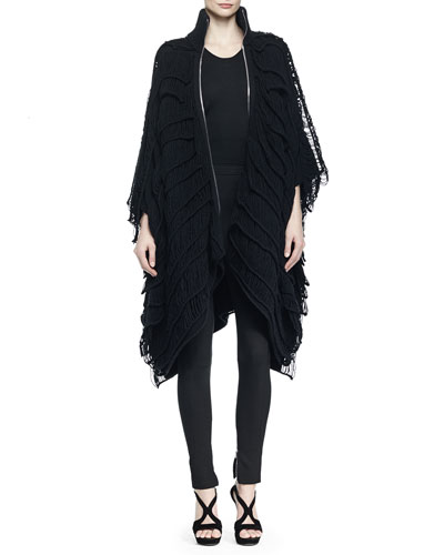 Wool-Blend Asymmetric Fringe Zip-Front Poncho & High-Waisted Zip-Cuff Leggings