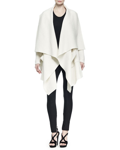 Wool-Blend Open Draped Poncho, Scoop-Neck Knit Tank Top & High-Waisted Zip-Cuff Leggings