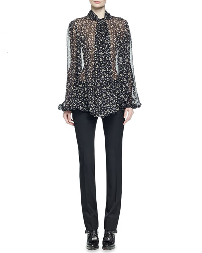 Tie-Neck Floral-Print Blouse & Slim-Fit Straight-Leg Pants