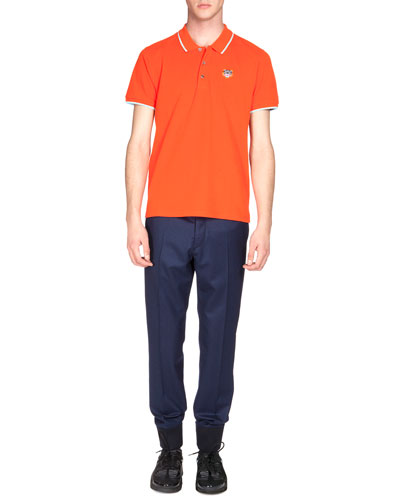 Tipped Tiger Short-Sleeve Pique Polo Shirt & Tailored Wool Jogger Pants
