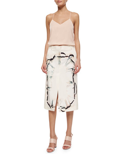 Silk Racerback Tank & Feather-Scarf-Print Midi Skirt W/ Front Slit