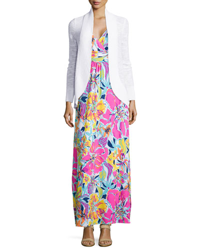 Amalie Long-Sleeve Open Cardigan & Amanda Floral-Print Maxi Dress