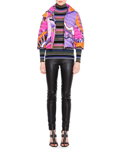 Printed 3/4-Sleeve Puffer Jacket, Striped Long-Sleeve Turtleneck Sweater & Skinny Leather Side-Zip Trousers