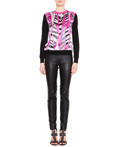 Printed-Front Pullover Sweater & Skinny Leather Side-Zip Trouser