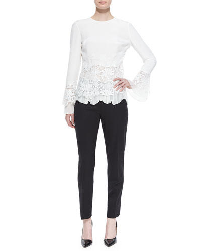 Long-Sleeve Lace Blouse w/Plisse Trim & Wool Twill Slim Pants