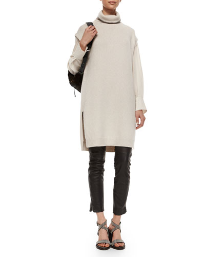 Monili-Beaded Turtleneck Tunic Sweater, Chiffon-Sleeve Cotton Stretch Top & Leather Ankle-Zip Leggings