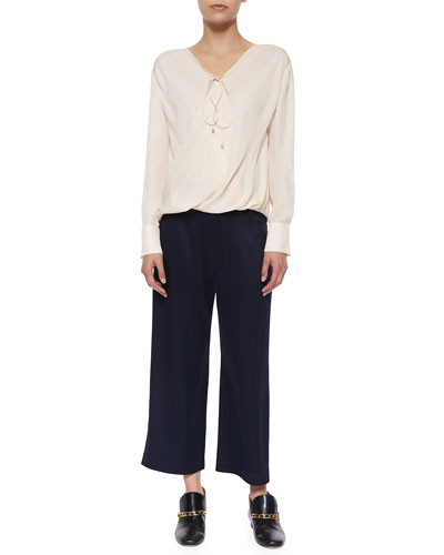 Draped-Front Silk Top W/ Self-Tie & High-Waist Cropped Trousers W/ Saddle Studs
