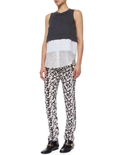 Sleeveless Jersey Layered Tank & Printed Track Trousers