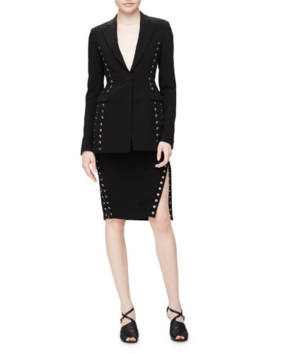 Merrie Lace-Up Sided Long Blazer & Pencil Skirt with Slit