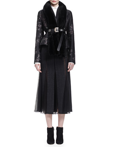 Metallic Brocade Short Jacket, Origami-Collar Poplin Blouse, Pieced Chiffon-Paneled Midi Skirt & Shearling Trimmed Portrait Scarf