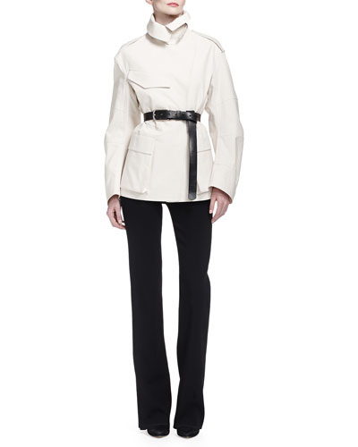 Flap-Pocket Tech Fabric Trenchcoat, High-Waisted Stretch Ponte Pants & Skinny Leather C-Buckle Belt