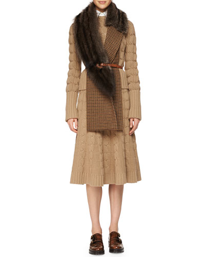Cashmere-Blend Mixed-Knit Sweater, Sleeveless Poplin Button Blouse, Cashmere-Blend Cable-Knit Trumpet Skirt, Fox Fur Houndstooth Woven Muffler & Skinny Leather Belt