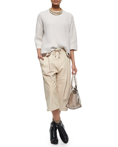 Cashmere-Blend Wrap Necklace, Ribbed Chunky Sweater, Satin Tank & Leather Culotte Pants