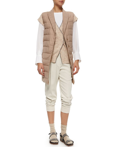 Woven Wool Jogger Pants, Silk-Sleeve Cotton Top, Cashmere Crossover Sweater, Wool Puffer Vest