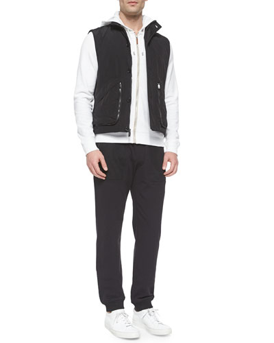 Suede Poplin Vest, Waffle-Knit Zip-Up Hoodie Jacket & Woven Track Pants with Mesh Pockets