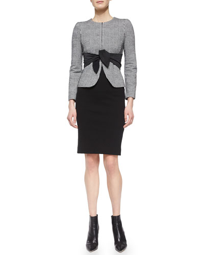 Glen Plaid Suede Sash Jacket, Slinky Jersey Tank Top & Stretch-Knit Pencil Skirt