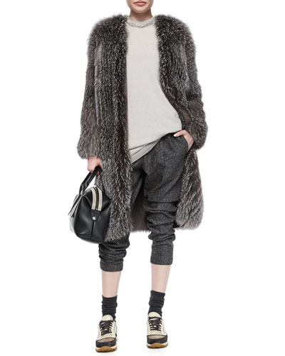 Fox Fur Cashmere-Knit Long Coat, Chiffon-Trimmed Cashmere Jersey Tunic & Tweed Cropped Harem Pants