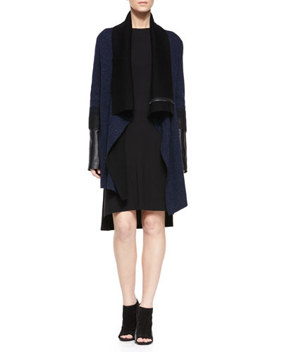 Needle-Punch Drape Cardigan & Faux-Leather-Trim T-Shirt Dress