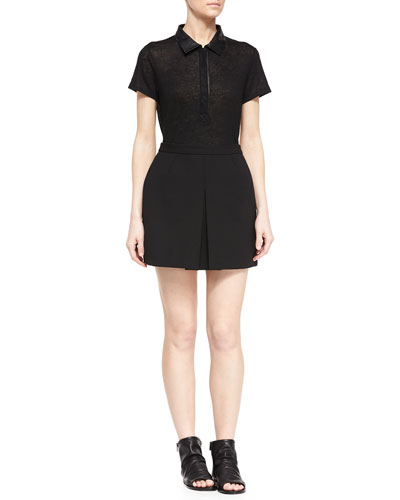 Leather-Trim Polo Shirt & Front-Pleat A-Line Skirt