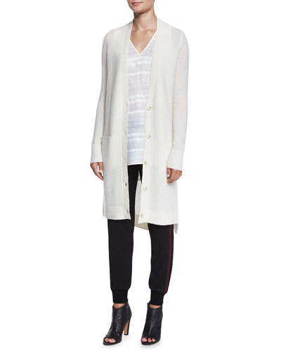 Directional-Rib Long Cashmere Cardigan, Textured Linen V-Neck Tee & Double-Stripe Jogger Pants