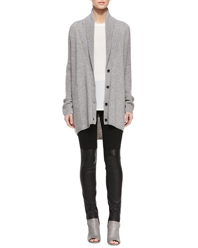 Directional Rib Wool-Blend Cardigan, Half-Sleeve Ribbed Trim Tee & Mixed Media Leather Leggings