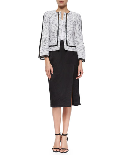 Graphic Tweed Jacket & Pencil Skirt with Slit
